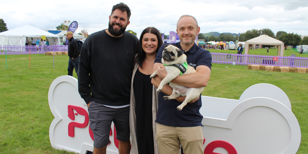 A picture of Puggy Smalls and the Petsure team at The Petsure Games 2021